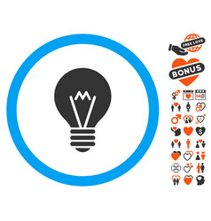 hint bulb icon with love bonus vector image