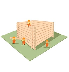 House under construction of logs and cartoon work vector