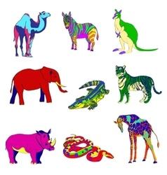 Image rhino kangaroo giraffe vector image