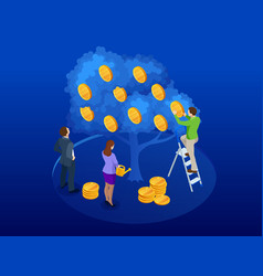 isometric tree made of money a symbol of vector image
