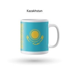 Kazakhstan flag souvenir mug on white background vector