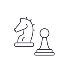 knight and pawn line icon concept knight and pawn vector image