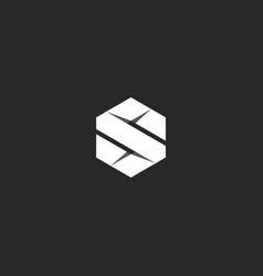 Letter s logo in the geometric form of a hexagon vector
