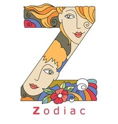 Letter Z zodiac vector