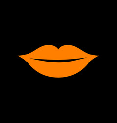 lips sign orange icon on black vector image