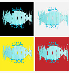 logo sea food from cut fish on background vector image