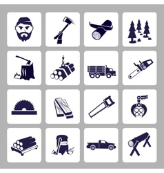 Lumberjack icon set vector image