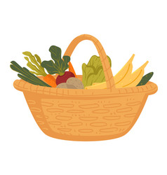 Market food in wicker basket farm vegetables and vector