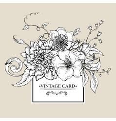 Monochrome greeting card with blooming peony vector