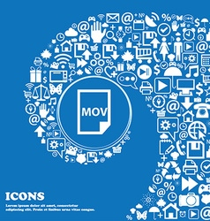 mov file format icon Nice set of beautiful icons vector image