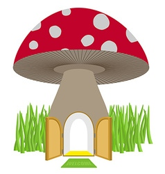 Mushroom with door open Amanita House for a dwarf vector image