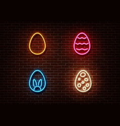 neon color eggs sign isolated on brick wall vector image