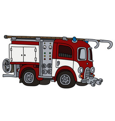Old red and white fire truck vector