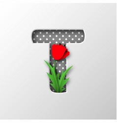 paper cut letter t with poppy flowers vector image