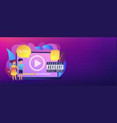 Parental advisory music concept banner header vector