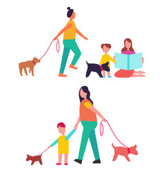 People walking dogs have fun vector