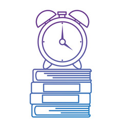 pile text books with alarm vector image