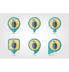 Plum mapping pins icons vector image