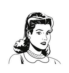 Portrait woman comic image vector