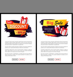 Present in box wrapped in paper on web poster vector