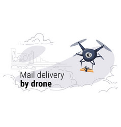 Quadcopter express air mail delivery by drone vector