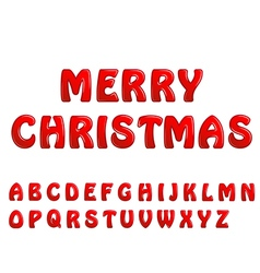 red shiny letters holiday fonts merry christmas vector image