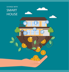 savings with smart house flat vector image