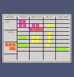 scrum board with sticker notes attached vector image