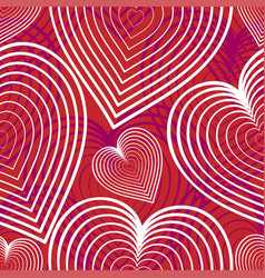 seamless background with flying hearts linear vector image