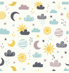 seamless childish pattern with sun moon clouds vector image