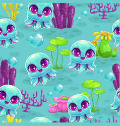 Seamless pattern with cute cartoon baby octopus vector