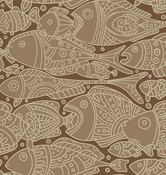 seamless pattern with Fishes braun vector image