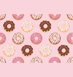 seamless pattern with glazed donuts pink colors vector image