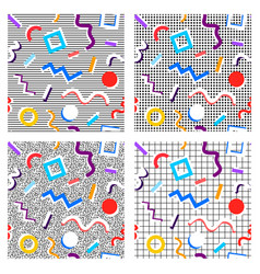 Set of 80th patterns geometry of different colors vector