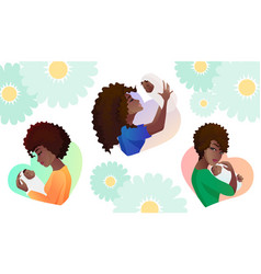 set of young mothers with baby in the hands vector image