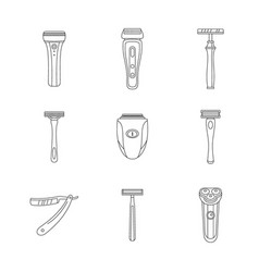 Shaver blade razor personal icons set outline vector