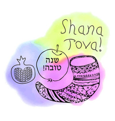 Shofar apple pomegranate doodle shana tova vector