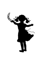 Silhouette girl game throws boomerang vector