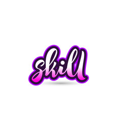 Skill calligraphic pink font text logo icon vector