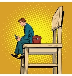 Small business man on the big chair and vector image