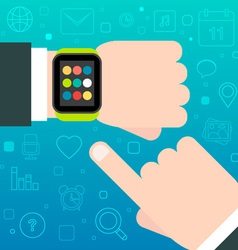 Smart Watch concept with mobile apps icons vector
