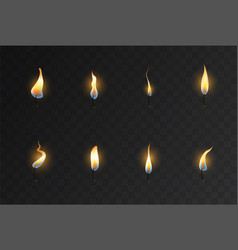 st eight different candle wicks with flames vector image