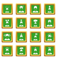 Stress icons set green vector