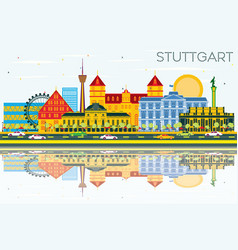 Stuttgart germany skyline with color buildings vector