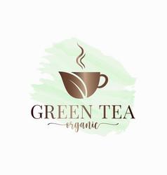Tea cup watercolor logo green organic vector