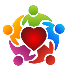 Teamwork group people and heart logo vector