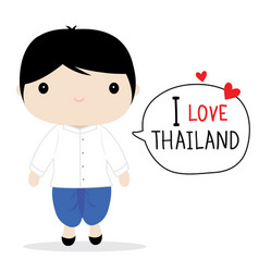 Thailand men national dress cartoon vector