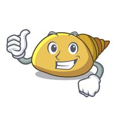 Thumbs up mollusk shell character cartoon vector