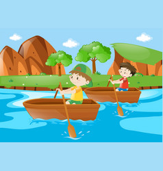 Two boys rowing boat along the river vector