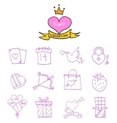 Valentine day icons element collection vector